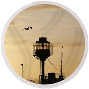 Light Ship Silhouette At Sunset Round Beach Towel