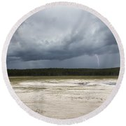 Lightening At Yellowstone Round Beach Towel by Belinda Greb