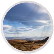 Lightfall On Djouce Mountain Summit Round Beach Towel