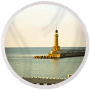 Lighthouse - Alexandria Egypt Round Beach Towel by Mary Machare