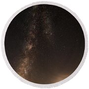 Lighthouse And Milky Way Round Beach Towel