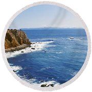 Lighthouse At A Coast, Point Vicente Round Beach Towel