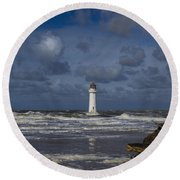 lighthouse at New Brighton Round Beach Towel by Spikey Mouse Photography