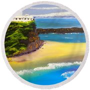 Round Beach Towel featuring the painting Lighthouse At Nobbys Beach Newcastle Australia by Pamela  Meredith
