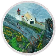 Lighthouse At Point Reyes California Round Beach Towel