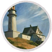 Lighthouse At Two Lights Round Beach Towel