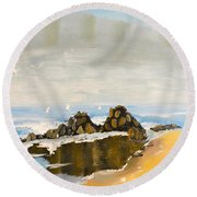 Lighthouse Beach Round Beach Towel