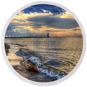 Lighthouse Drama Round Beach Towel