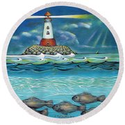 Lighthouse Fish 030414 Round Beach Towel by Selena Boron