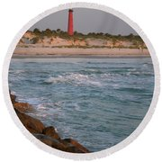 Lighthouse From The Jetty 2 Round Beach Towel