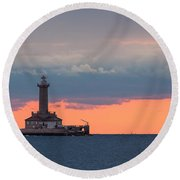 Round Beach Towel featuring the photograph Lighthouse In Dusk by Davorin Mance