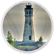 Lighthouse Just Before Sunset At Erie Basin Marina Round Beach Towel