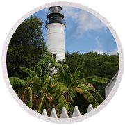 Round Beach Towel featuring the photograph A Sailoirs Guide On The Florida Keys by Christiane Schulze Art And Photography