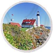 Lighthouse Of Maine Round Beach Towel