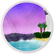 Lighthouse On Beach Round Beach Towel by Anita Lewis