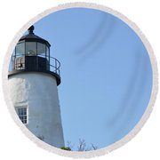 Lighthouse On Clear Day Round Beach Towel