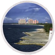 Lighthouse On Colonial Beach With Atlantis Paradise Resort Bahamas Round Beach Towel