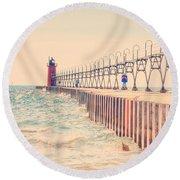 Lighthouse On Lake Michigan Round Beach Towel