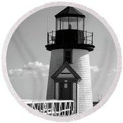 Lighthouse On Nantucket Bw Round Beach Towel