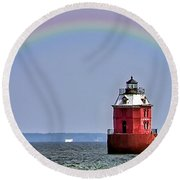 Lighthouse On The Bay Round Beach Towel