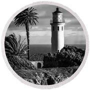 Round Beach Towel featuring the photograph Lighthouse On The Bluff by Jerry Cowart