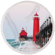 Lighthouse On The Jetty At Sunrise Round Beach Towel