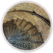 Lighthouse Spiral Staircase Round Beach Towel by Jean Goodwin Brooks