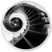 Lighthouse Staircase Round Beach Towel