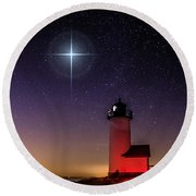 Lighthouse Star To Wish On Round Beach Towel by Jeff Folger