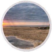 Lighthouse Sunset Round Beach Towel