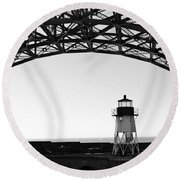 Lighthouse Under Golden Gate Round Beach Towel by Holly Blunkall