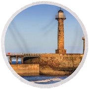 Lighthouses On The Piers Round Beach Towel