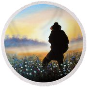 Round Beach Towel featuring the painting Lighthunter by Vesna Martinjak