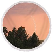Lighting Strikes In Custer State Park Round Beach Towel