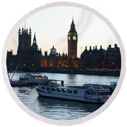 Lighting Up Time On The Thames Round Beach Towel