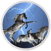 Lightning At Horse World Bw Color Print Round Beach Towel