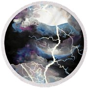 Round Beach Towel featuring the painting Lightning by Daniel Janda