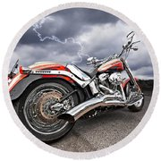 Lightning Fast - Screamin' Eagle Harley Round Beach Towel
