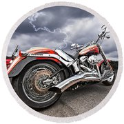 Lightning Fast - Screamin' Eagle Harley Round Beach Towel by Gill Billington