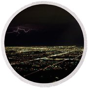 Lightning In The Sky Over A City Round Beach Towel by Panoramic Images