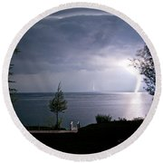 Lightning On Lake Michigan At Night Round Beach Towel