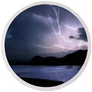 Lightning Over Quartz Mountains - Oklahoma Round Beach Towel