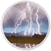 Lightning Striking Longs Peak Foothills 4c Round Beach Towel
