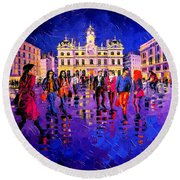 Lights And Colors In Terreaux Square Round Beach Towel