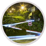 Lights On Lombard Round Beach Towel