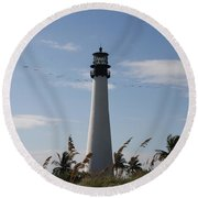 Round Beach Towel featuring the photograph Ligthouse - Key Biscayne by Christiane Schulze Art And Photography
