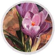 Lilac Crocuses Round Beach Towel
