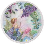 Lilac Enchanting Flower Fairy Round Beach Towel