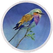 Lilacbreasted Roller Round Beach Towel