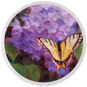Lilacs And Swallowtail Butterfly Round Beach Towel